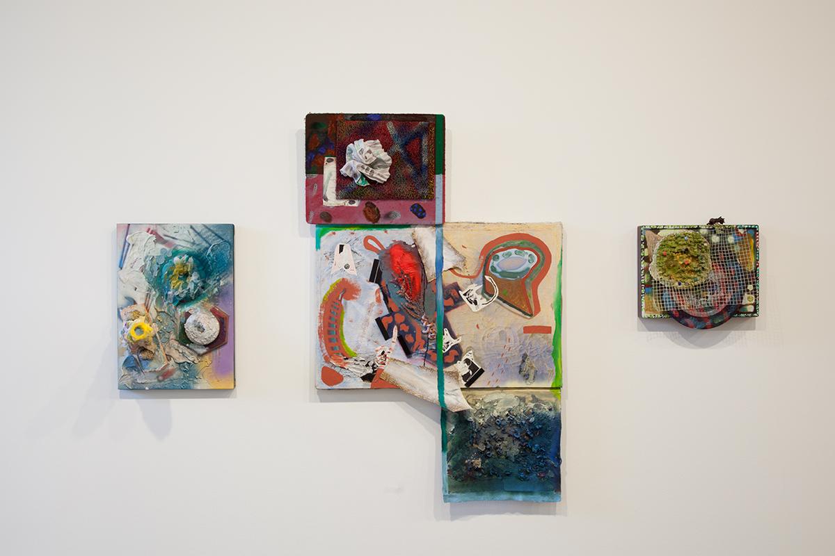 Slap to Life, Slap to Reality v.2, 2012. Acrylic, foil, velcro, felt, pastel, rubber. 56 x 36 inches.