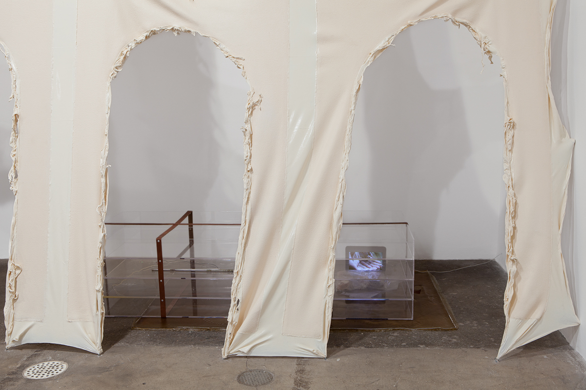 No title, detail, 2014. Aqueduct: latex, cotton; Vitrine: latex, acrylic, leather, stainless steel, lamp, iPad, video, vegetable oil, bubble solution, poly bags. 172 x 330 x 60 inches.