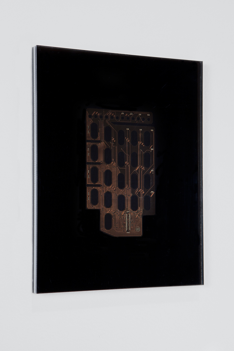 No title, 2014. Acrylic, PCB. 11 ½ x 8 ⅞ inches.