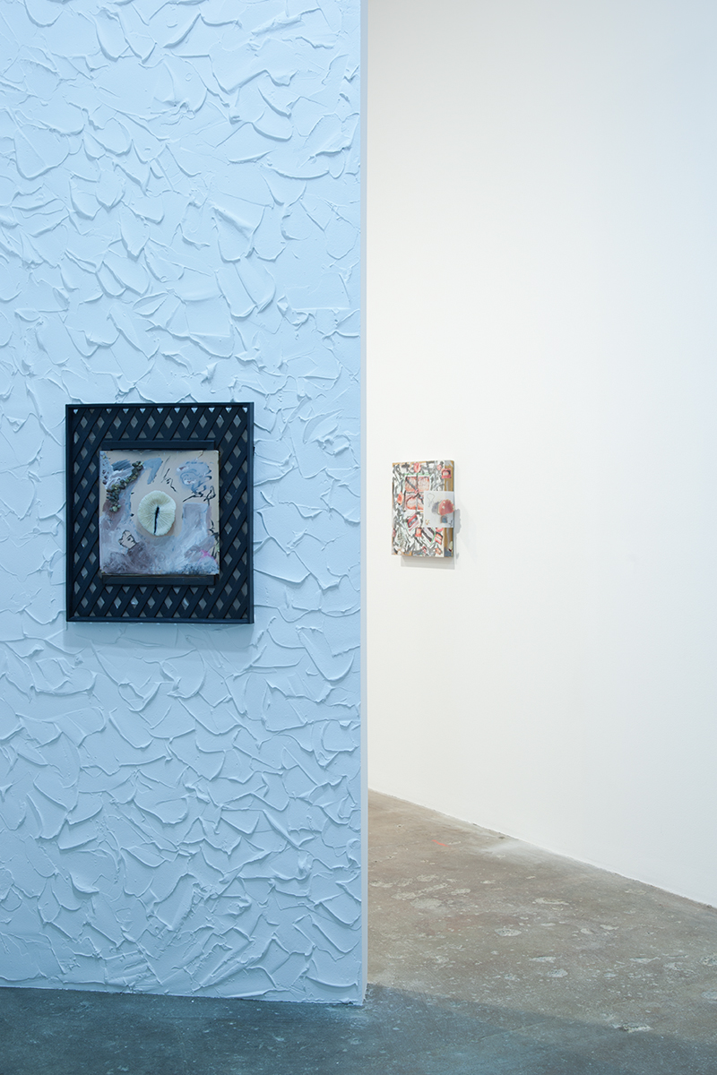 MOUTHBREATHER, installation view. Left: Untitled Black Lattice, 2012. Acrylic, ink, wood, coral. 23 x 20 inches. Right: Mouth's Self-Portrait, 2012. Acrylic, cat litter, color photographs, plastic, ink. 16 x 17 ½ x 6 inches.